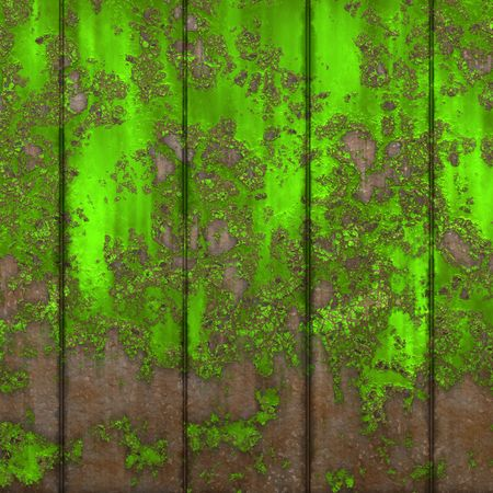 chipped: Wood fence with chipped green paint