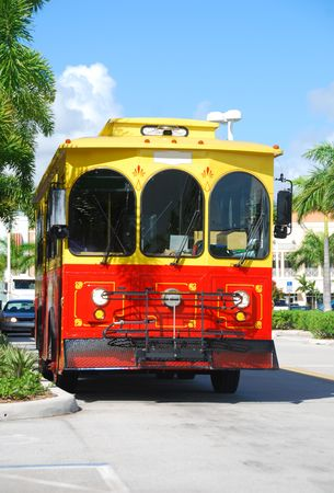public transfer: Colorful vintage trolley