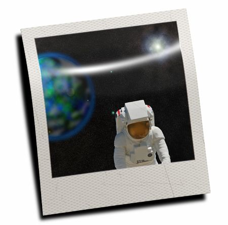 weightless: Astronaut floating in space Stock Photo