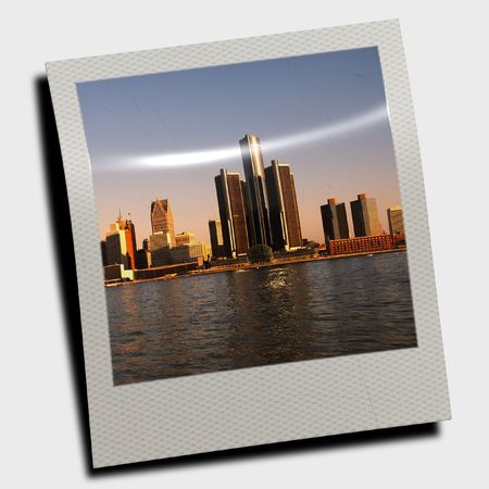 Snapshot of downtown Detroit at dusk  photo