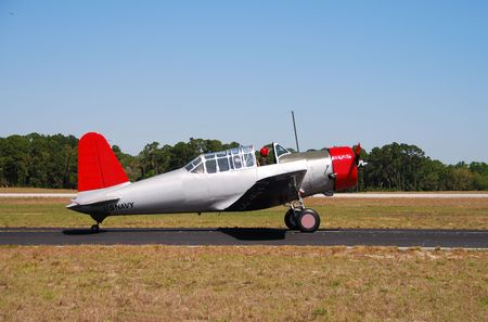 restored: Restored turboprop airplane ready for takeoff