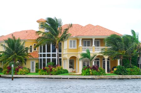 waterfront property: Upscale real estate property Stock Photo