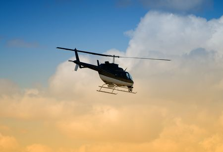 Rear view of helicopter in flight