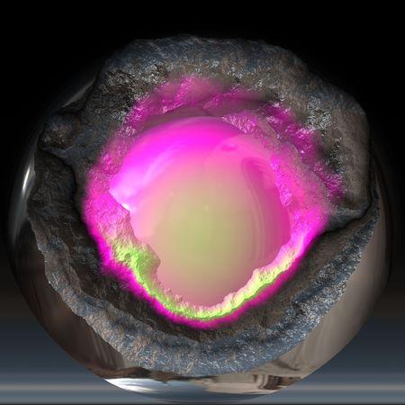 Broken metallic ball with a pink core