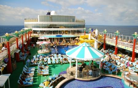 ship deck: Cruise ship top deck