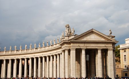 Colonnade at Saint Peters squate in the Vatican