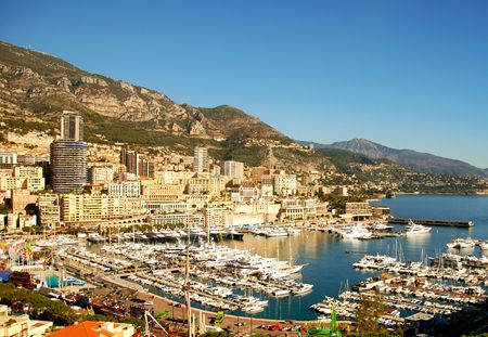 carlo: Panoramic scenery from Monte Carlo, Monaco Stock Photo