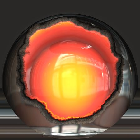 meltdown: Open nuclear core Stock Photo