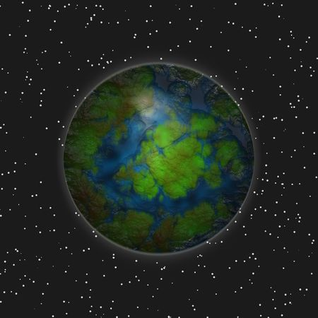 Distant green planet Stock Photo