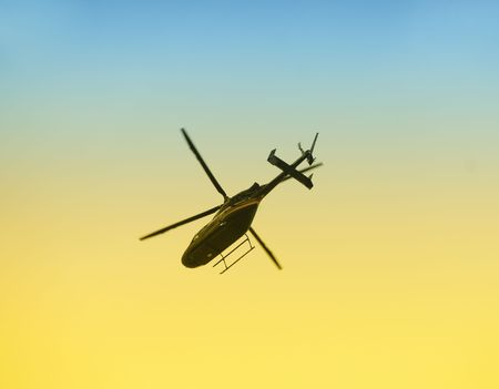 Helicopter departing Stock Photo