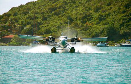 Seaplane landing in St Thomas, USVI Imagens