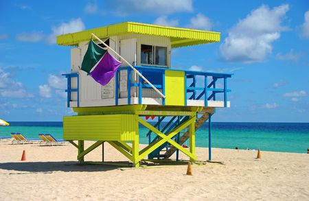Lifeguard tower in Miami Beach photo