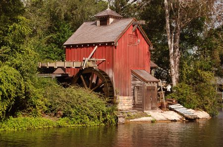 farm structure: Old water mill Stock Photo