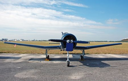 Front view of small airplane Stock Photo
