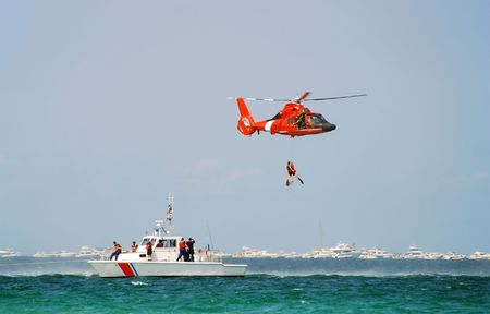 rescue helicopter: Coast Guard rescue
