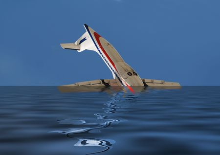 drown: Sinking airplane Stock Photo