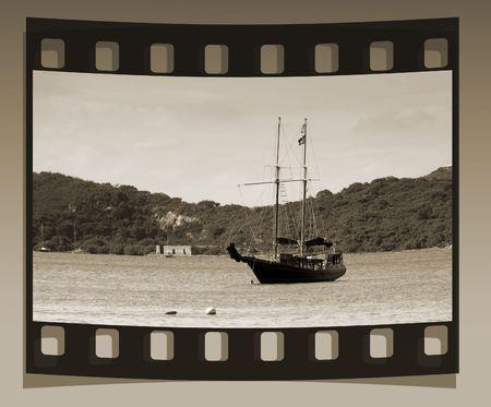 Vintage slide of pirate ship Imagens