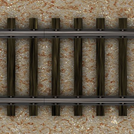 Top view of old fashioned railroad tracks
