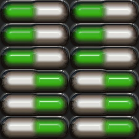Blister pill pack in green and white colors