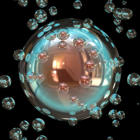 SHiny ball ornament surrounded by bubbles in space