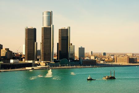 riverfront: Detroit city skyline and riverfront in daytime