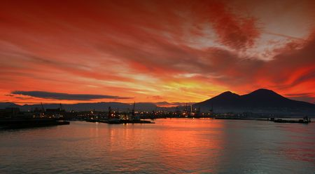 Sunrise of the bay of Naples, Italy