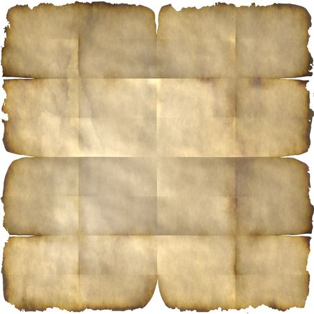 Unfolded parchment paper faded from old age