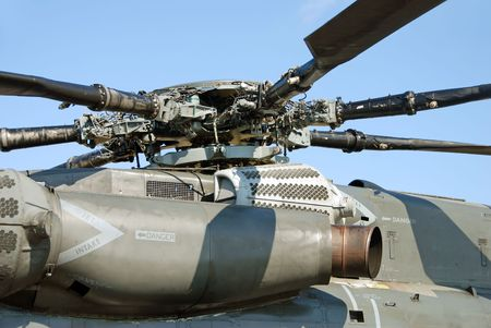 Powerful turbine engine on a military helicopter