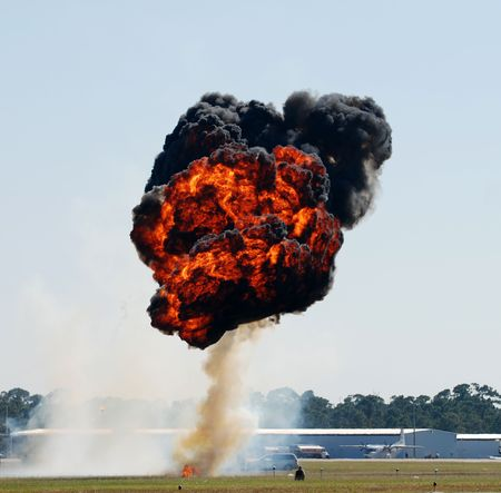 Fireball explosion above airfield                              Stock fotó