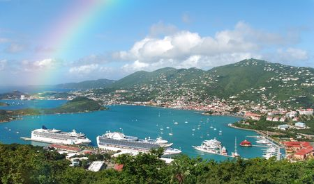 the virgin islands: Aerial view and rainbow over St Thomas, US Virgin islands