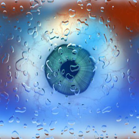 Closeup of eye ball behind wet glass