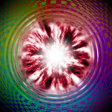 wormhole: Illustration of plasma wormhole with psychodelic background Stock Photo