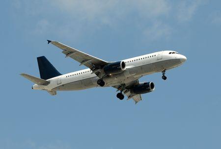 airborne vehicle: Modern jet airplane Airbus A-320 Stock Photo
