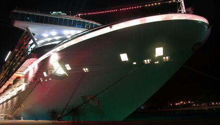 illuminated: Illuminated ocean liner in port