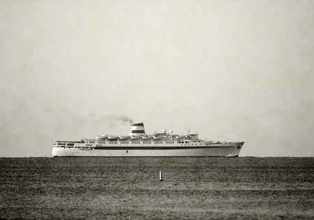 ocean liner: Duotone vintage ocean liner on the horizon                          Stock Photo