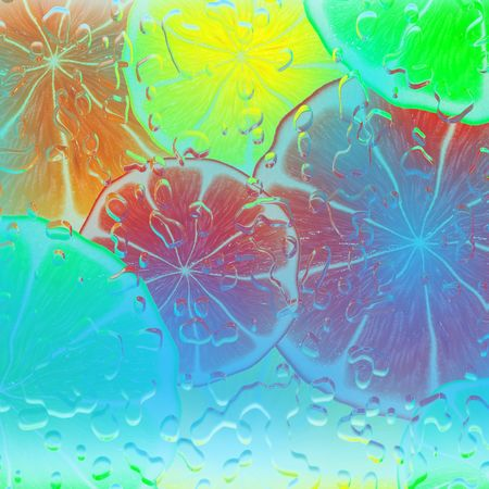 Colorful background of stacked citrus slices under water