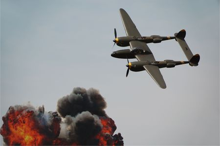 legendary: Legendary American bomber P-38 Lightning on a mission           Stock Photo