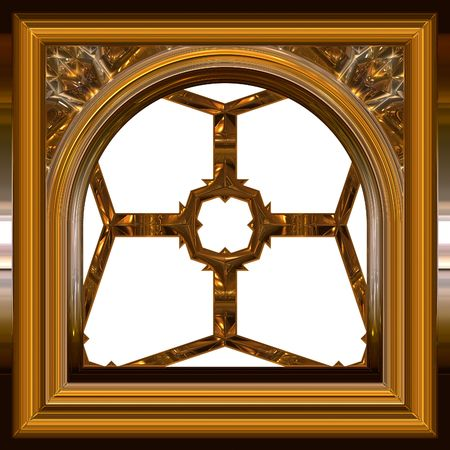 window view: isolated golden window frame on white background