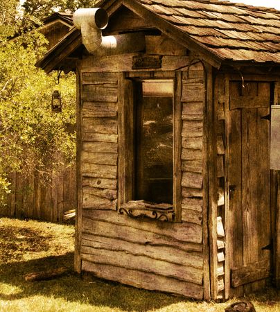 Aged photo of mountain log cabin    Stok Fotoğraf