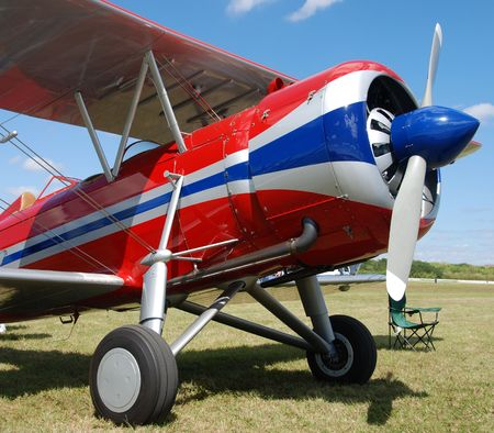 Nose view of vintage propeller driven biplane