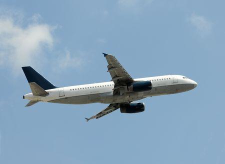 jetliner: Modern passenger jetliner climbing after takeoff