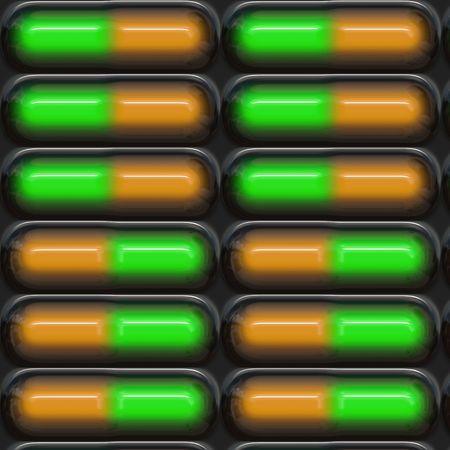Blister pack of green and orange pills