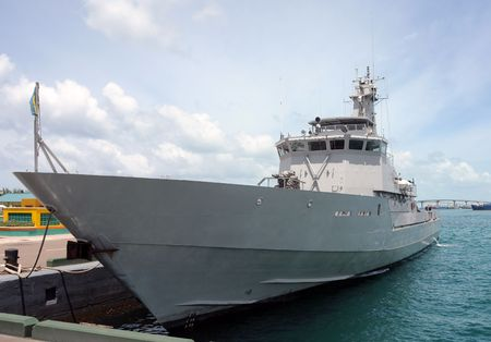 cutter: Modern warship visiting the port of Nassau, Bahamas