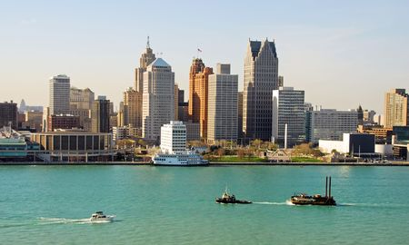 Detroit skyline Stock Photo