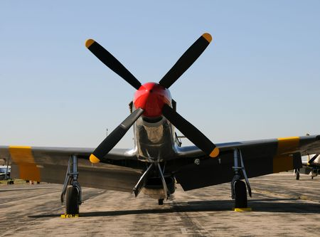 Legendary American fighter plane front view photo
