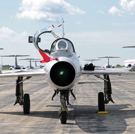 cold war: Cold War era Soviet made jetfighter front view Stock Photo
