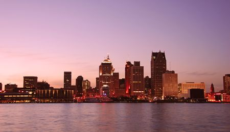 Sunset over Detroit as seen from Windsor, Ontario                  photo
