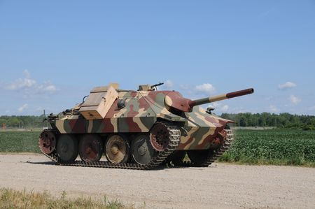 battleground: World War II era heavy tank  Stock Photo