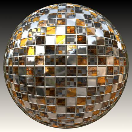 Shiny disco ball isolated on black and white