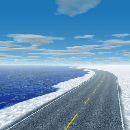 Computer rendered illustration of coastline and road